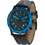 Jorg Gray 1900 Series Chronograph - Blue Accents - Black Case & Strap by Jorg Gray