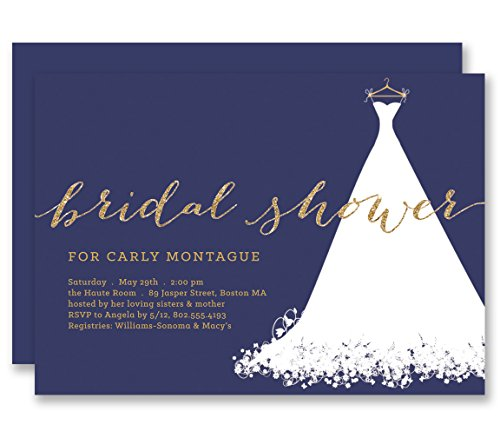 Bridal shower invitations wedding dress order online popular navy bridal shower invitations wedding dress gold glitter look personalized boutique invites with envelopes carly filmwisefo