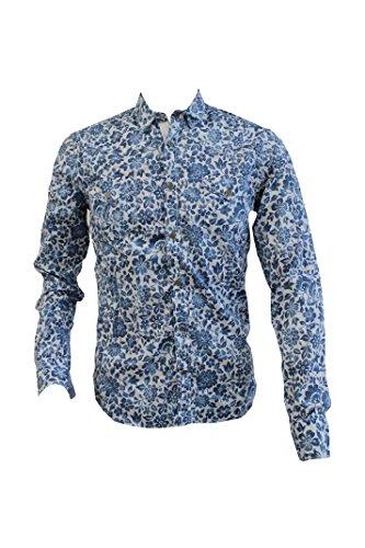 Paolo Pecora Camicia Uomo Floreale Bianco Blu ,Collo 15 1/2 , 39 cm Taglia M