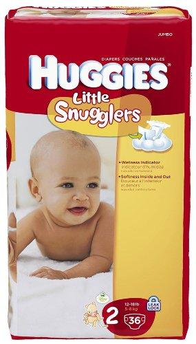 Huggies Little Snugglers Diapers, Jumbo Pack, Size 2, 12-18 lbs, 36 ea - 1