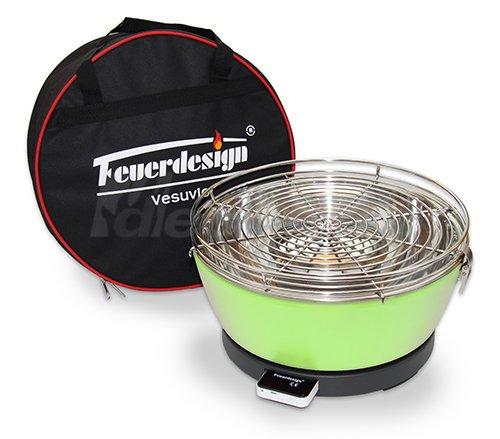 Holzkohle Tischgrill VESUVIO rauchfrei v. Feuerdesign – Grün – mit Tasche und wiederaufladbaren Akku jetzt kaufen