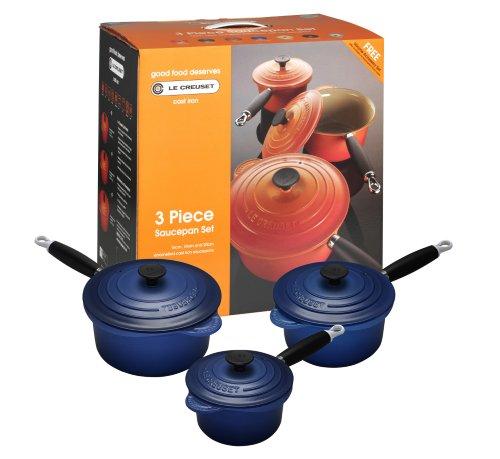 Le Creuset Cast Iron Saucepan Set, Graded Blue, 3 Piece