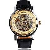 GuTe Classic Automatic Mechanical Wristwatch Skeleton Steampunk Golden Unisex Adult