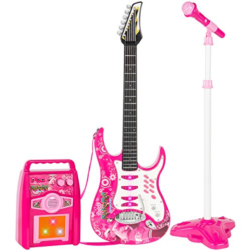 Best-Choice-Products-Kids-Electric-Guitar-Play-Set-W-MP3-Player-Microphone-Amp-Children-Musical-Play-Set-Pink