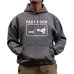 Nutees Fast Food Dog Chasing Cat Funny Unisex Hoodie - Charcoal Grey