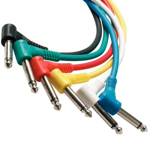 Perfektion Pack of six different colors, 1 foot Guitar - instrument Patch Cables (Right Angle) - Can be used for FX (effects) pedals, Instruments, and More!!!