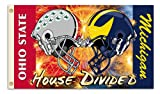NCAA Michigan - Ohio State 3-by-5 Foot Flag Clashing Helmets with Grommets - Rivalry House Divided
