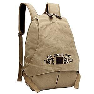 Smartstar Neust Vintage Design Damen Herren Casual Fashion Canvas Schultaschen Rucksack Für Schule Sport Freizeit Reise (Khaki)