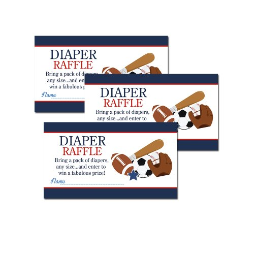 Sports Printed Baby Shower Diaper Raffle Tickets (20) - Navy Blue - 1