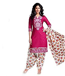 Mayur Women's Cotton Unstitched Dress Material (162034231626_Pink_Large)