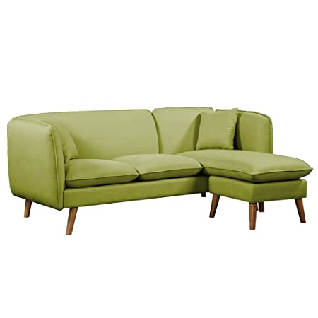 Divano Mima 3Coperti più Pouf modulabile in angolo stile scandinavo Tessuto Tweed Verde