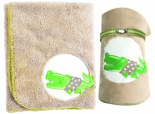 Manual Woodworkers Fleece Blanket With Pacifier Clip, Al Gator, 30 X 40""