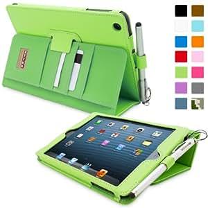 Snugg iPad Mini & Mini 2 Case - Executive Smart Cover With Card Slots & Lifetime Guarantee (Green Leather) for Apple iPad Mini & Mini 2