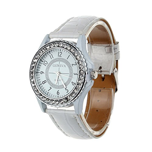 Changeshopping(Tm) Pu Leather Crystal Dial Lady Wrist Watch Bracelet Quartz Hour