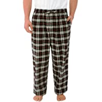 Del Rossa Men's 100% Cotton Flannel Pajama Pants - Sleep Bottoms, Large Black and Red Plaid (A0705P22LG)