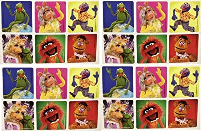 "THE MUPPETS STICKERS - The Muppets Birthday Party Favor Sticker Set Consisting of 45 Stickers Featuring 6 Different Designs Measuring 2.5"" Per Sticker Featuring Kermit the Frog, Miss Piggy, Gonzo, Fozzie and Animal"
