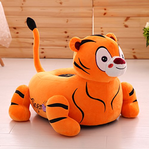 MAXYOYO Super Cute Tiger/Lion Stuffed Plush Toy Bean Bag Chair,Tiger/Lion Sofa Seat for Teens/Toddlers/Baby,Birthday Gift for Children (tiger)