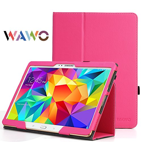 Wawo Creative Smart Cover Folio Case For Samsung Galaxy Tab S 10.5 Inch Tablet-Rose Red front-218277