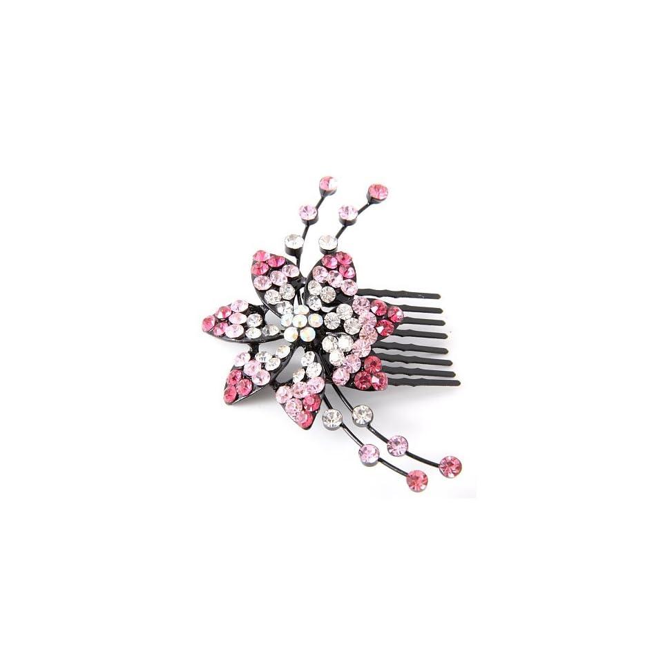 Pink Austrian Crystal Hair Comb Beauty