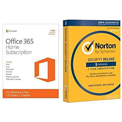 Microsoft Office 365 Home 1 Year Subscription w/ Norton Security Standard for 5 Devices
