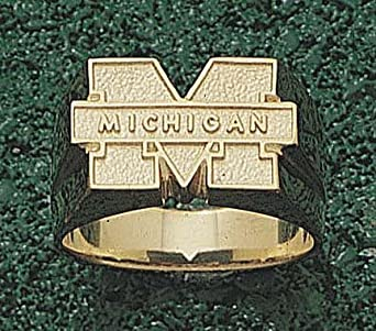 Michigan Wolverines M Michigan Mens Ring Size 10 1 2 - 14KT Gold Jewelry by Logo Art