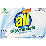 All Fabric Softener Dryer Sheets, Free Clear, 230 Count