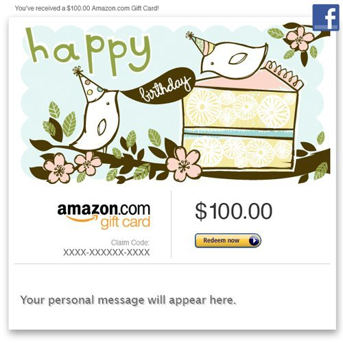 Amazon Gift Card – Facebook – Happy Birthday (Birds)