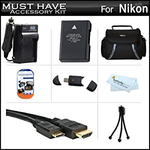 Must Have Accessory Kit For Nikon D5200, D5100, D3200, D3100 DSLR Digital SLR Camera Includes Extended Replacement (1500 maH) For Nikon EN-EL14 Battery + Ac/Dc Travel Charger + Mini HDMI Cable + USB 2.0 Card Reader + Deluxe Case + Screen Protectors + More
