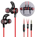 Headset, Parasom R2 Magnet Attraction Sport In-Ear Earbuds Heaphones Earphones with Mic Stereo Bass & Phone and Track Control (Black/Red)