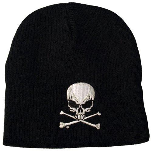Hot Leathers Skull and Crossbones Knit Cap (Black)