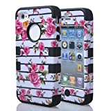 JIAXIUFEN Hard PC&Soft Silicone Combo Hybrid Defender High Impact Body Armorbox Case for Apple Iphone 4 4S with Screen Protector and Stylus(Pink Flower White Back&Black)