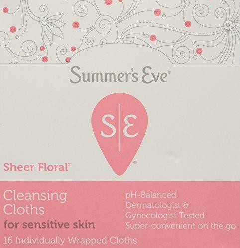 Summers Eve Feminine Cleansing Cloths Sensitive Skin Sheer Floral -16 each