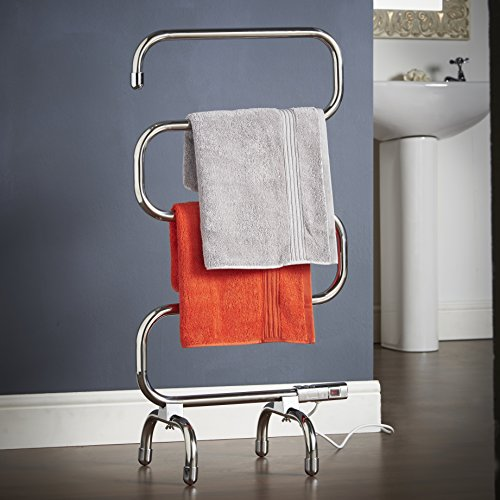 VonHaus Electric Towel Rail / Warmer / Radiator - Wall Mount & Free Stand Included (Chrome) - Free 2 Year Warranty