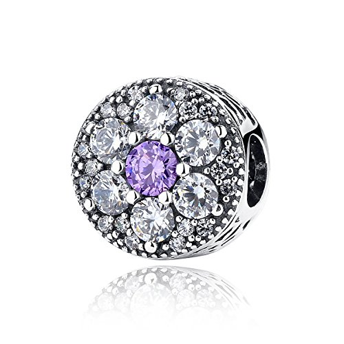 Non ti scordar di me, con Zirconia cubica trasparente e viola in argento Sterling 925, compatibile con braccialetti Pandora
