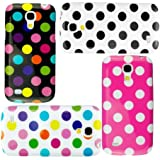 Poposh 4 X Zubeh�r Set Bunt Polka Dots Silikon TPU Tasche H�lle Back Cover Case Etui f�r Samsung Galaxy S4 Mini i9190 i9195 - Wei� Schwarz Pink Rosa Gelb Blau Lila