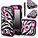 E-LV Deluxe Printed Hard Soft High Impact Hybrid Armor Defender Case Combo for Apple iPhone 5C with 1 Screen Protector, 1 Black Stylus and 1 Microfiber Sticker Digital Cleaner (iPhone 5C, Zebra  Hot Pink)