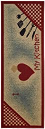 Anti-Bacterial Rubber Back Home and KITCHEN RUGS Non-Skid/Slip 2x5 | I love my kitchen & utensils | Decorative Runner Door Mats Low Profile Modern Thin Indoor Floor Area Rugs for Kitchen