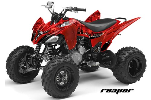 AMR Racing Yamaha Raptor 250 ATV Quad Graphic Kit - Reaper: Red