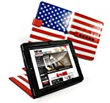 Tuff-Luv Multi-View US Flag 'Stars n Stripes' Faux Leather Case Cover Stand for Apple iPad 2