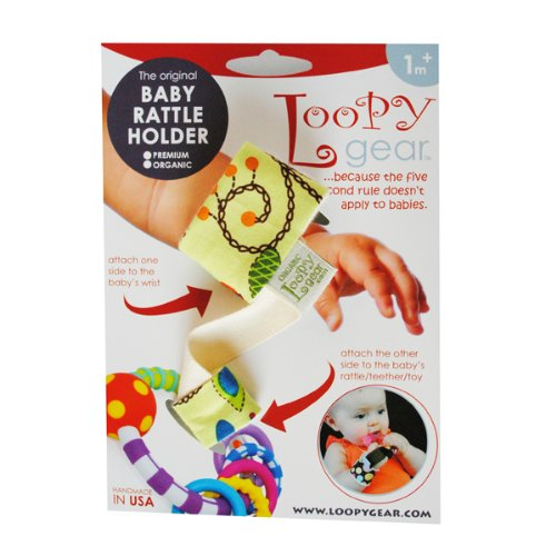 Loopy Gear Organic Cotton Baby Rattle Holder, Garden Flowers Pattern - 1