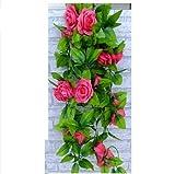 Leegoal Artificial Rose Silk Flower Green Leaf Vine Garland Home Wall Party Decor Wedding Decal(Hot Pink)