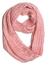 Dry77 Solid Color Knitted Infinity Loop Scarf, Pink