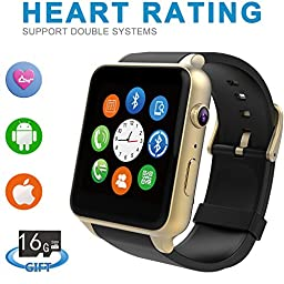 Smartlife ST-88 Smart Watch Bluetooth NFC Connectivity Sports Watch with Heart Rate Monitor,Touch Screen and Magnetic Charging for Android Samsung HTC/Apple Ios, Include 16G Micro SD Card (Gold)