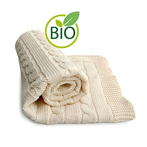 SonnenStrick 100% Organic Cotton Baby Blanket (Plait) Made in Germany Natural