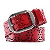 JasGood Fashion Women's Genuine Leather Waist Belt With Alloy Buckle, Red