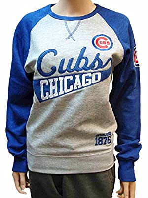 Chicago Cubs SAAG Women Gray Blue Pullover Fleece Crew Neck Sweatshirt