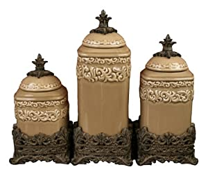 Drake Design 3402 Medium Canister 3 Piece Set Taupe 12 5 10 5 8 5 Inch