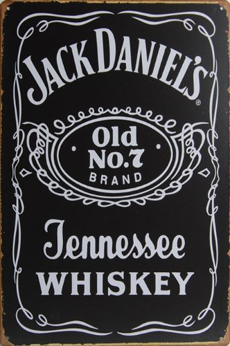 Jack Daniel`s Old No.7 Tennessee Whiskey, Whisky Metal Tin Sign, Vintage Style Wall Ornament Coffee & Bar Decor, 20 X 30 Cm.