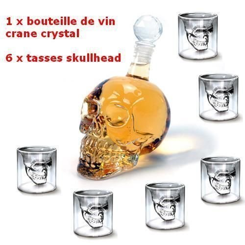 MVpower 320ML Bouteille de Vin Crane de Crystal Carafa a Decanter Whisky Vodka+ 6 Verre Tete de Mort Headskull Glass