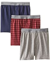 Hanes Big Boys'  Knit Boxer With Exposed Waistband(Pack of 3)